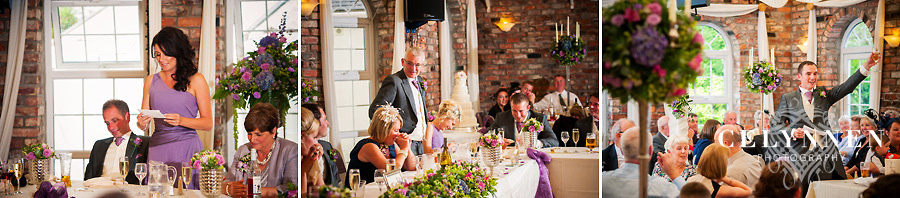 Images from the speeches at a wedding in Caernarfon