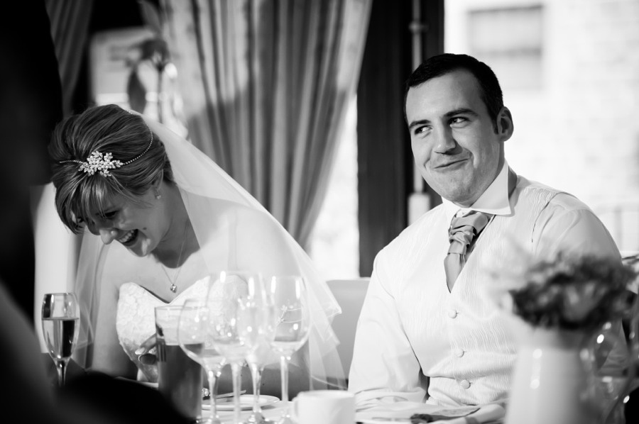 Bride and Groom at Reception by North Wales Wedding Photographer Celynnen Photography