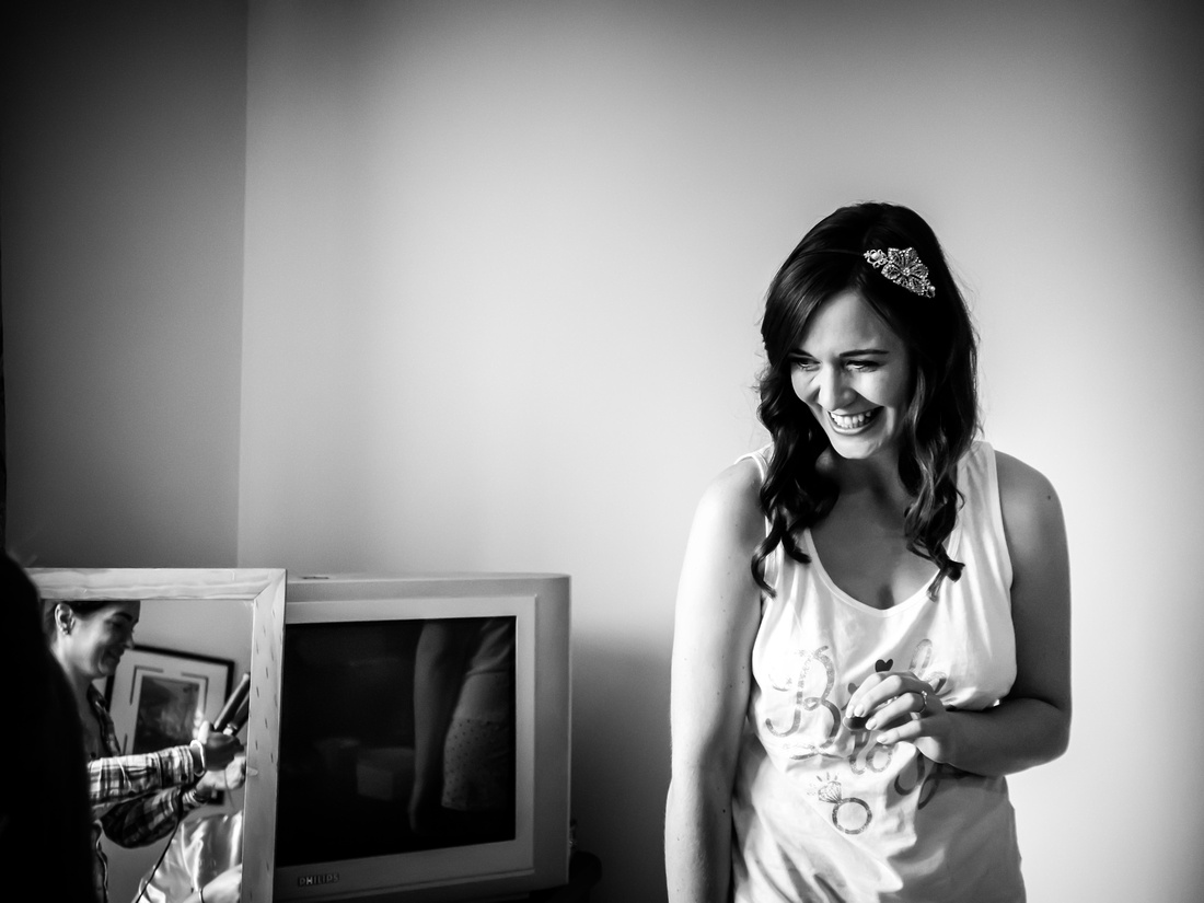 Black and white image of the bride during bridal preparations for her wedding day at Plas Isaf.