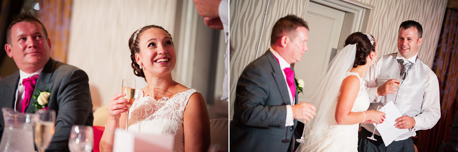 Images from the speeches at a wedding at Grosvenor Pulford