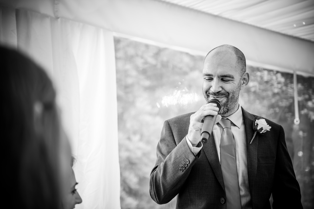 Image of the groom giving his speech at Soughton Hall.
