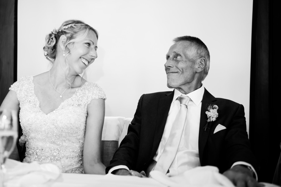 bride and her father at her wedding in Portmeirion. Wedding Photographer, Celynnen Photography