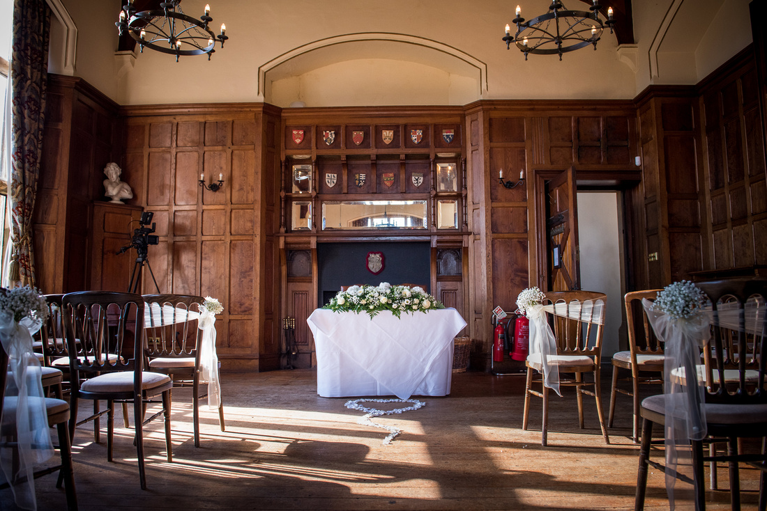 Photo of the ceremony room for a wedding at Chateau Rhianfa.