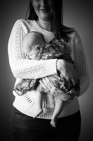 Black and white portrait of a mum with her girl during a portrait photoshoot