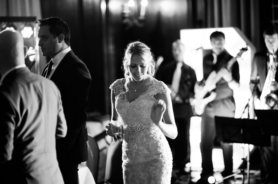 bride dancing at her wedding in Portmeirion