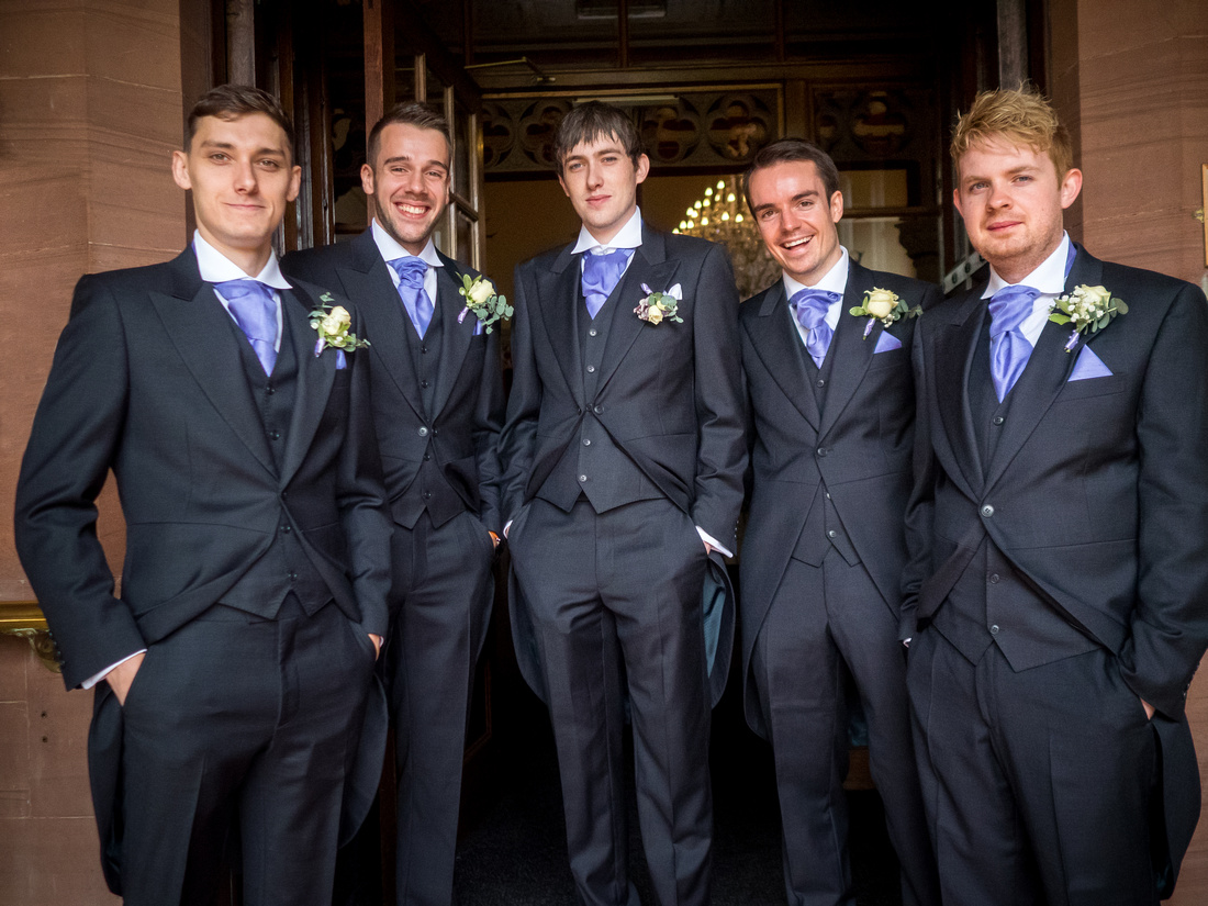 Portrait of the groom and his ushers before his wedding at Ruthin Castle.
