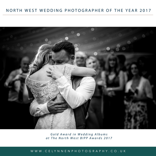 Image of a bride and groom embracing during their first dance from the wedding album that won Wedding Album of the Year for photographers in the North West Region of the BIPP.