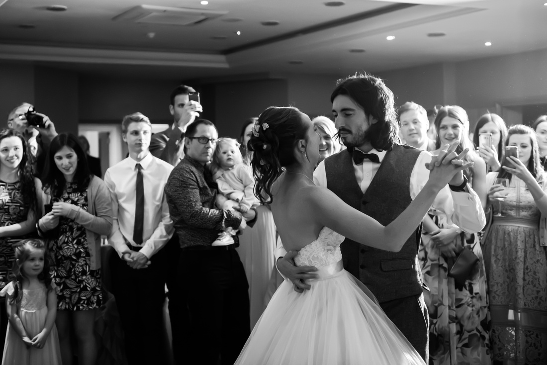 Bride and groom having their first dance on their wedding day at Lake Vyrnwy