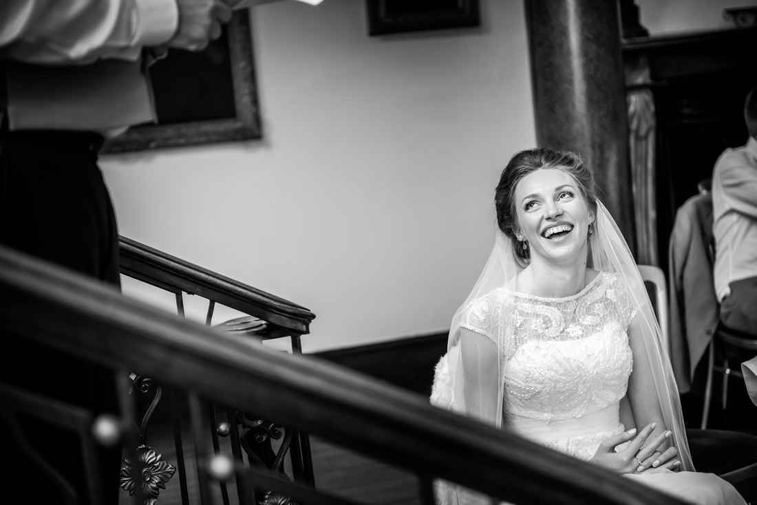 the beautiful bride looks so happy during her wedding