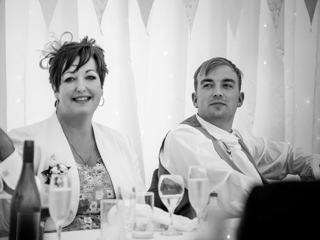 Black and white image of the groom and his mother on his wedding day at Pentre Mawr.