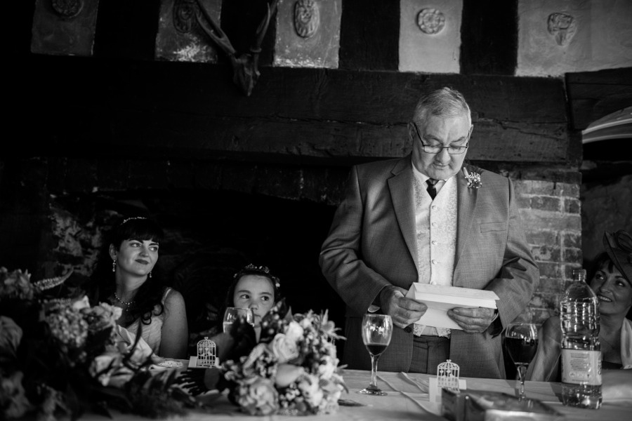 Father of the bride during his speech at a wedding at Gwydir Castle, by Celynnen Photography, North Wales wedding photographer of the year