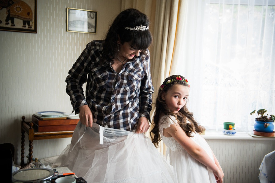 Bride and flower girl before the wedding at Gwydir Castle. Wedding photographer, Celynnen Photography