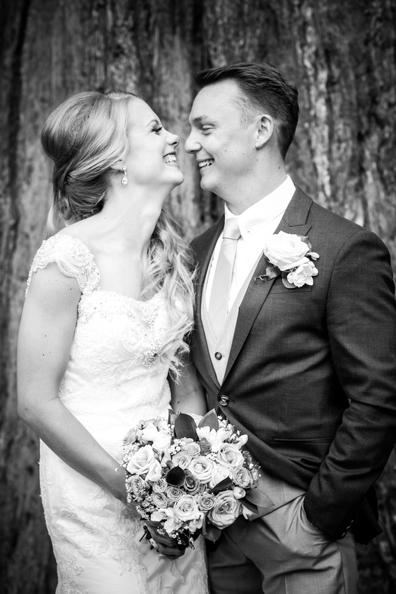 Black and white image of the newly married couple at Bodrhyddan Hall.