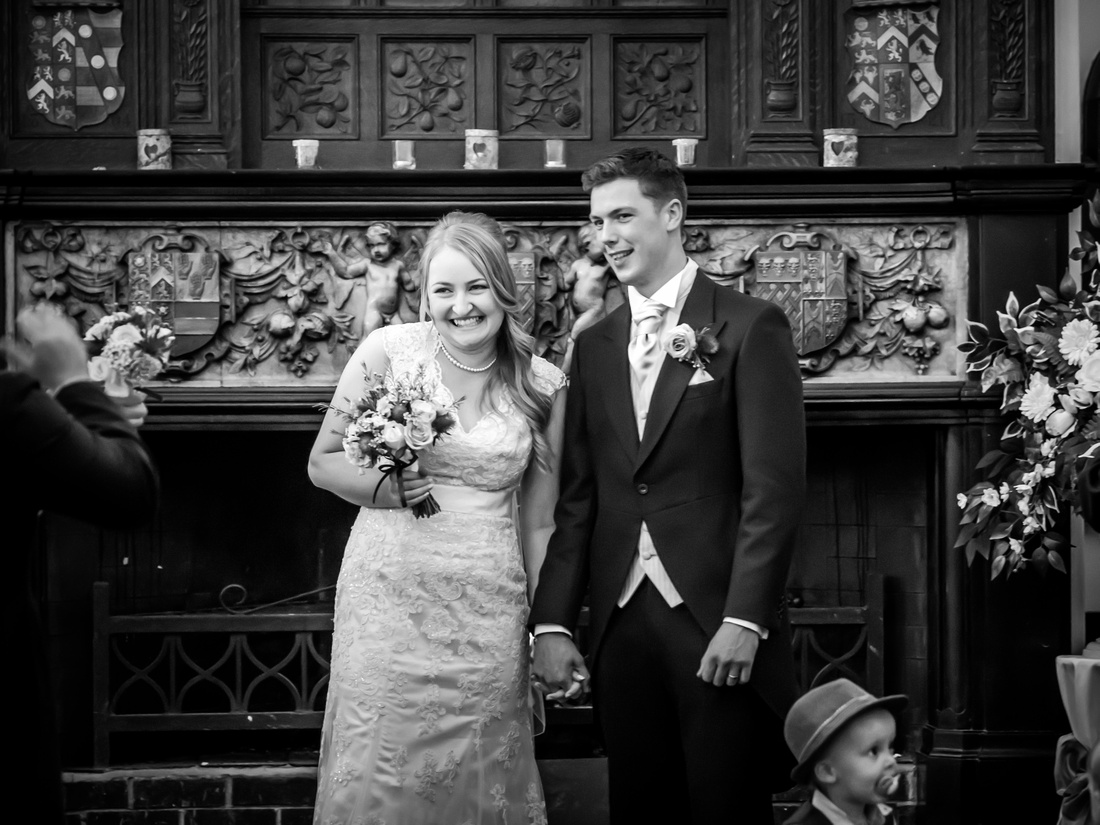 Black and white image of the newly married couple at The Kinmel, near Abergele.