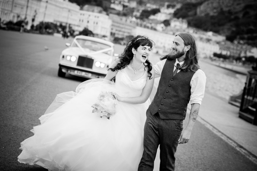 Bride and groom during their wedding in llandudno. North Wales wedding photographer, Celynnen Photography