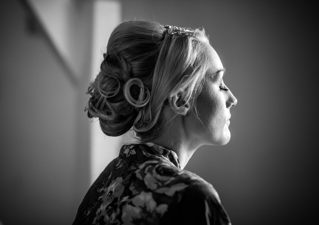 Black and white image of the bride on her wedding day at Pentre Mawr.