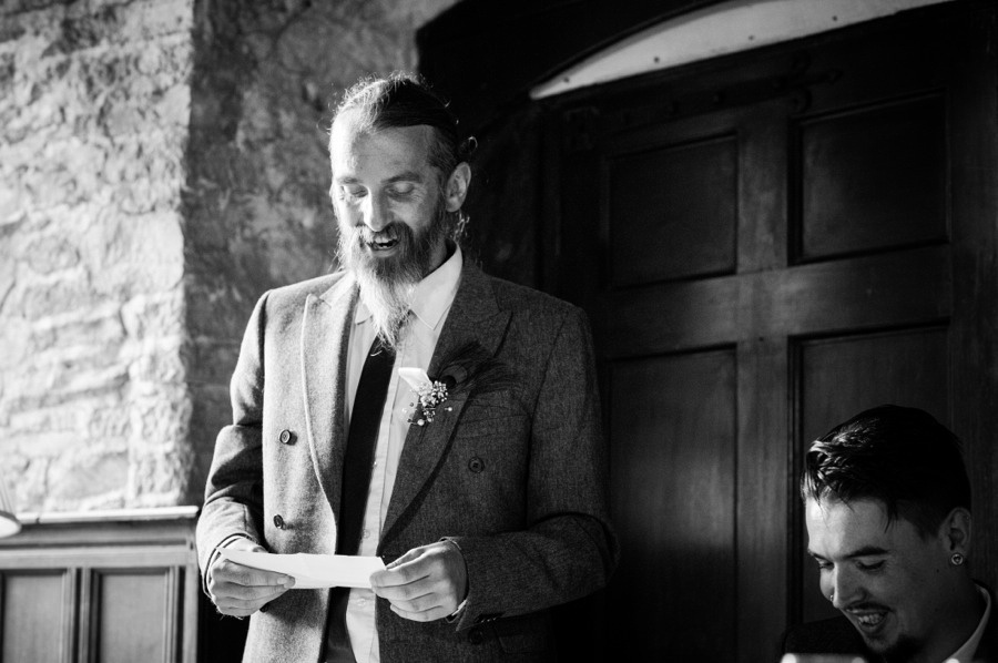 Wedding speeches at a wedding at Gwydir Castle, by Celynnen Photography, North Wales wedding photographer of the year