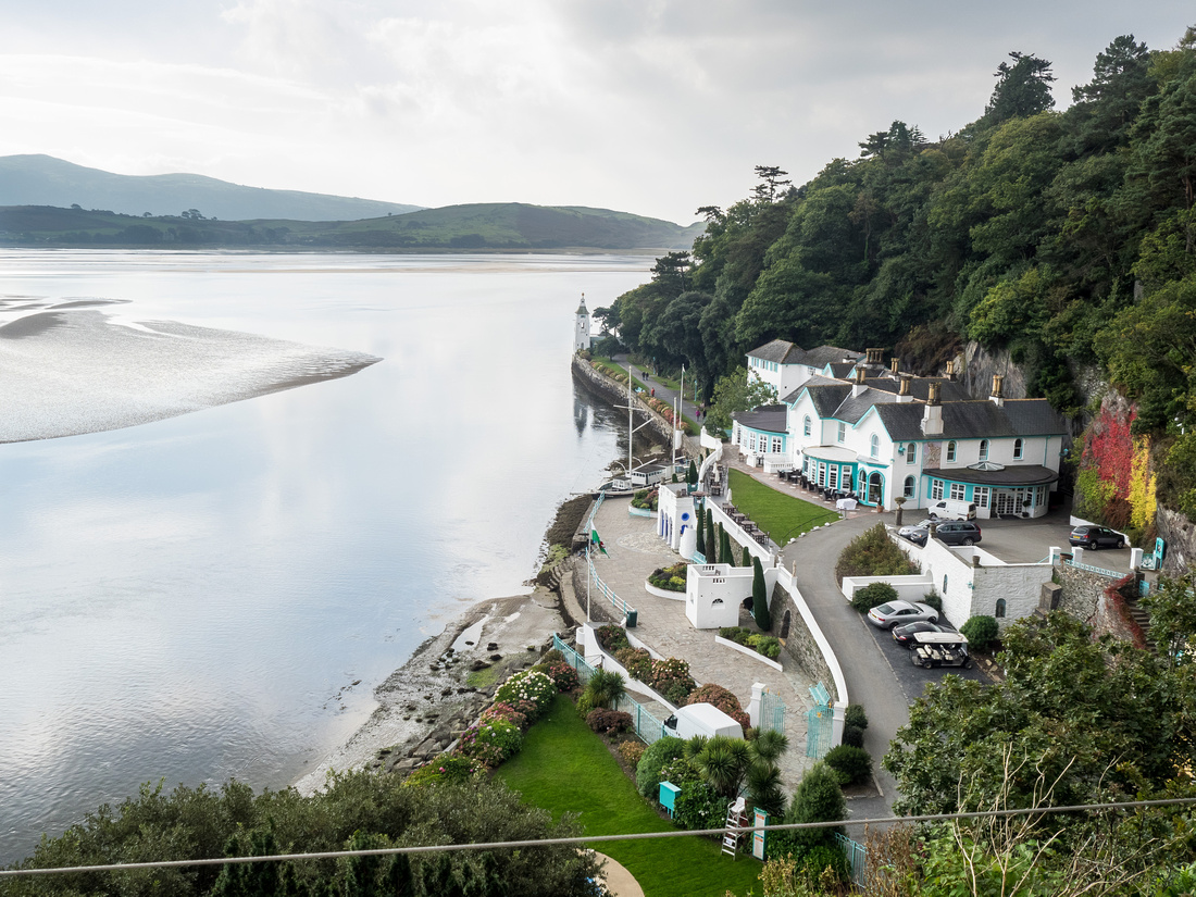 A photograph of the scenery from a wedding in Portmeirion.