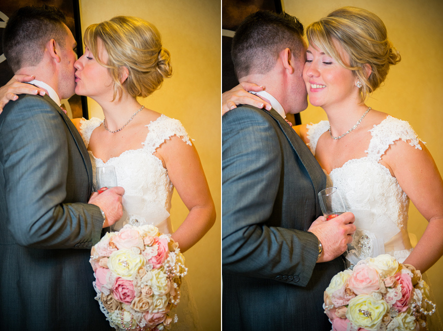 Bride and groom kissing after their Wedding at the Deganwy Quay. Wedding Photographer: Celynnen Photography