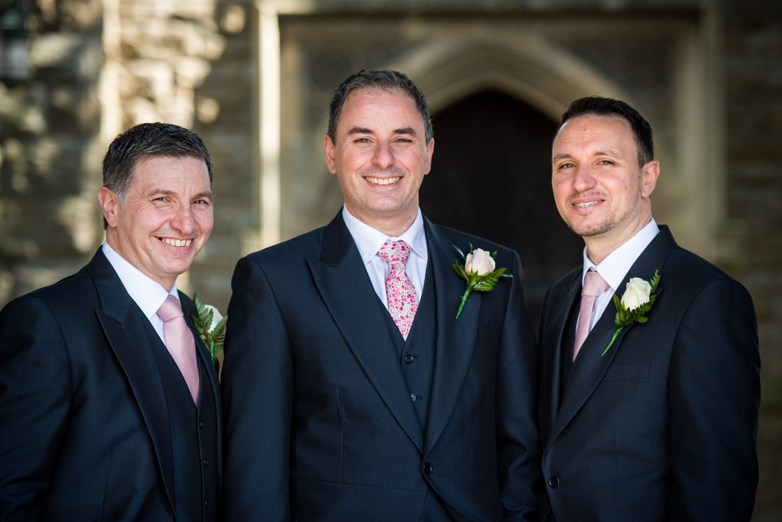 Image of the groom and ushers at a wedding in Buckinghamshire.