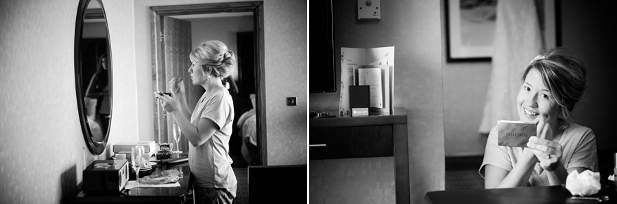 The bride getting ready for her wedding at the Deganwy Quay. Wedding Photographer: Celynnen Photography