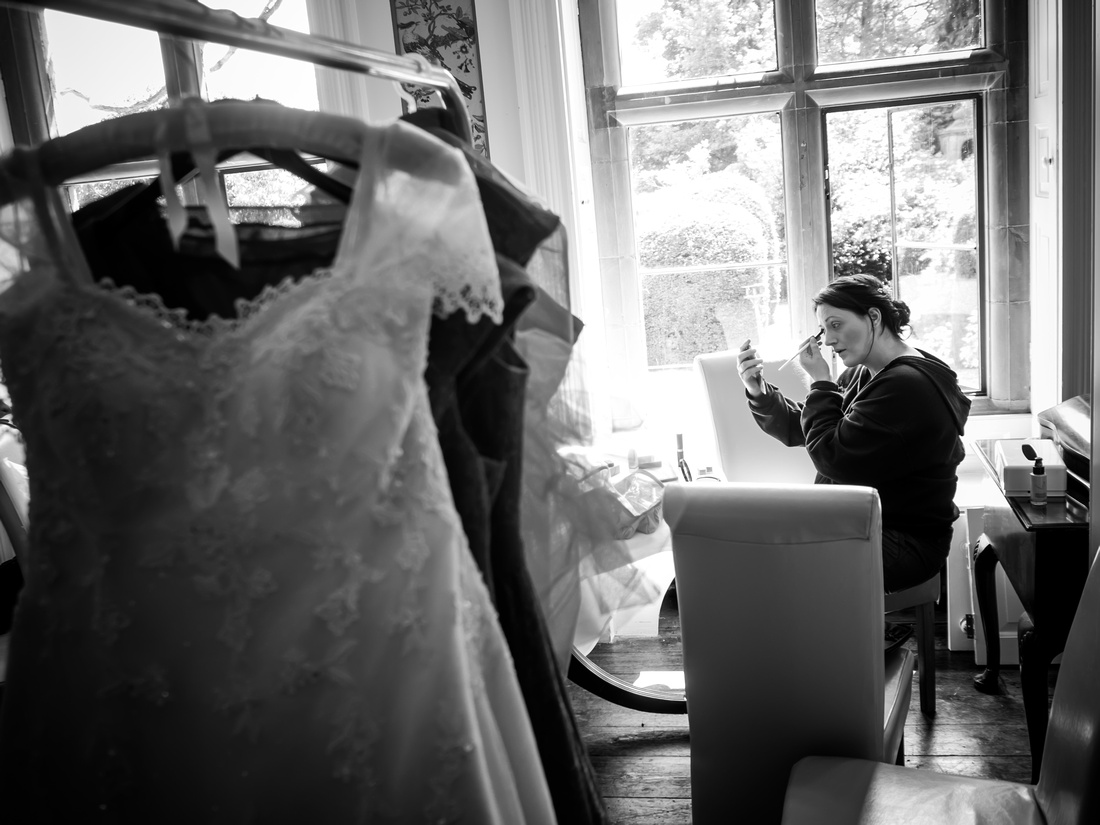 the bride getting ready for her wedding day at Soughton Hall