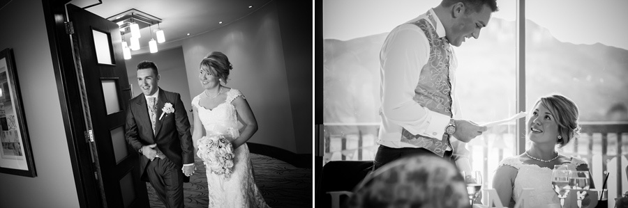 Black and white images from the wedding reception at a wedding at Deganwy Quay