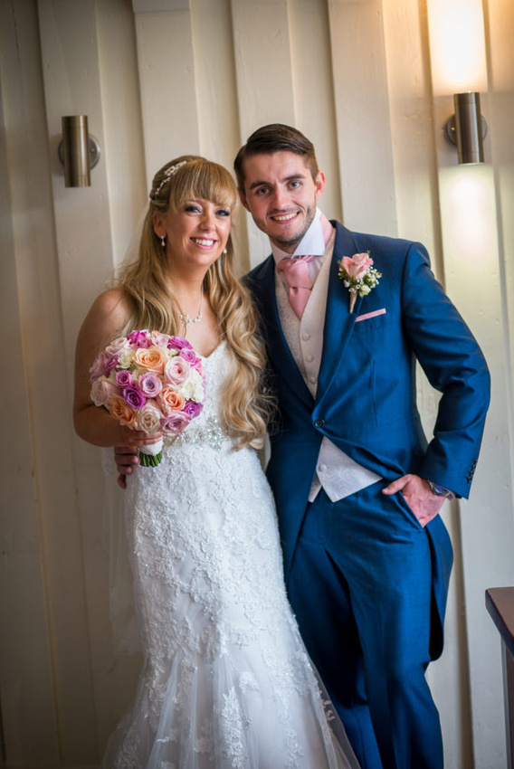 Portrait of the bride and groom at a wedding at The Lion Quays.