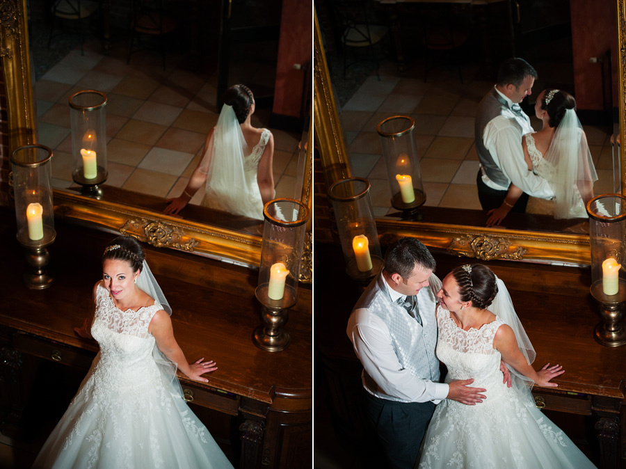 Images of the bride and groom with a reflection in the mirror at their wedding at Grosvenor Pulford