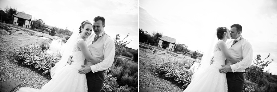Black and white images of the bride and groom outside the Grosvenor Pulford