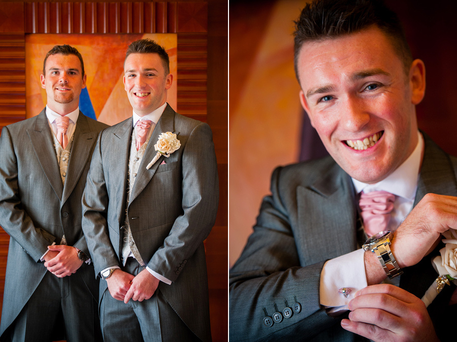 The groom and his ushers smiling. Wedding at the Deganwy Quay. Wedding Photographer: Celynnen Photography