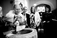 Black and white photo from a christening in Ellesmere
