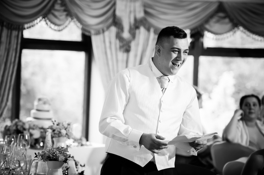 Best Man Giving Speech by North Wales Wedding Photographer Celynnen Photography