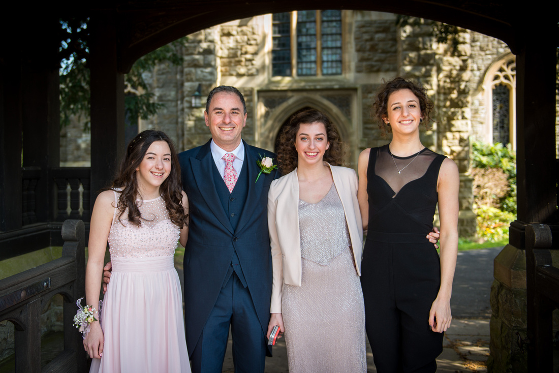 Image of the groom and family at a wedding in Buckinghamshire.