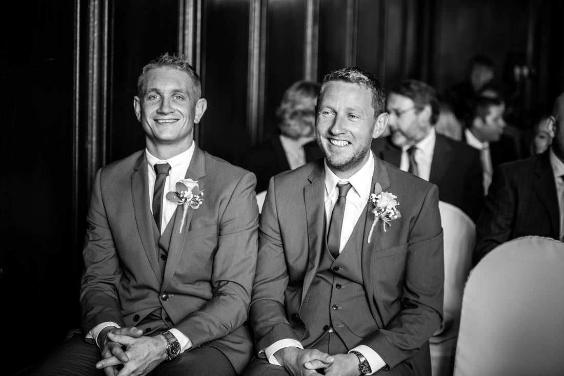 Black and white image of two of the ushers, who are ready for the wedding ceremony in Portmeirion.