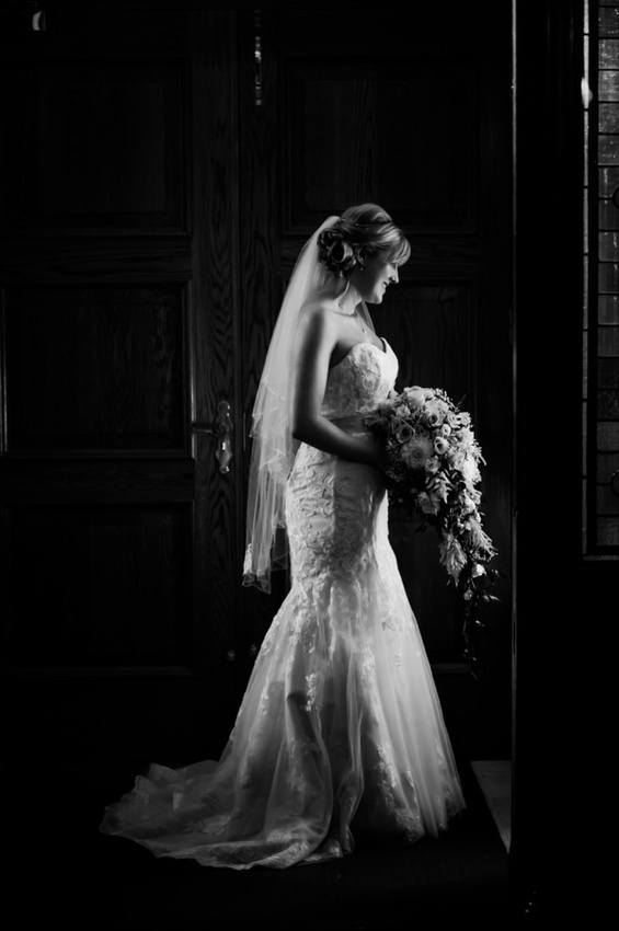 Bride in her Wedding Dress by North Wales Wedding Photographer Celynnen Photography
