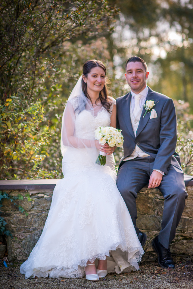 Colour portrait of the bride and groom on their wedding day at Chateau Rhianfa.