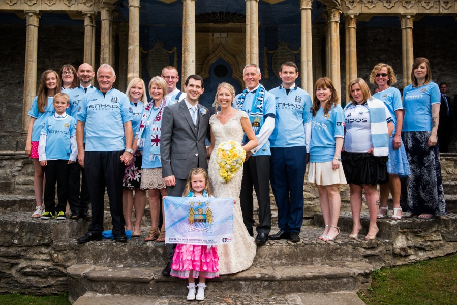 Manchester City Fans at a wedding in Portmeirion. Wedding photographer, Celynnen Photography