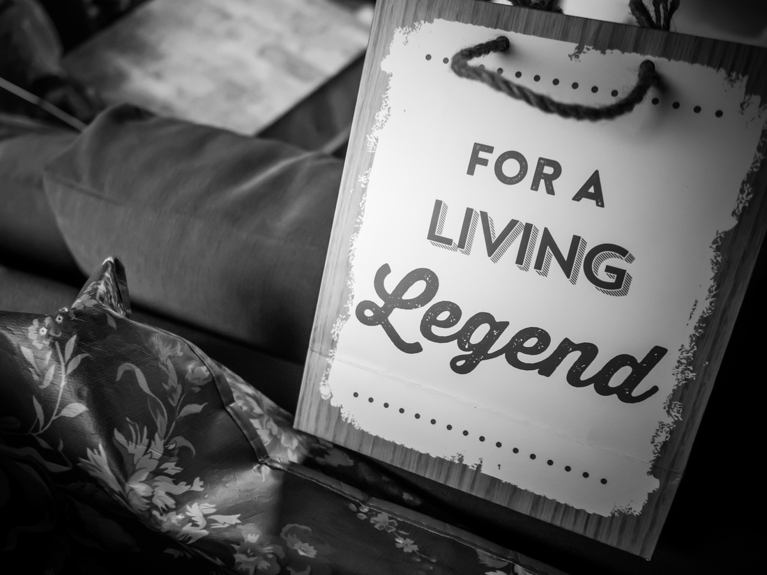 Black and white image of a gift bag, from a wedding at Pentre Mawr.