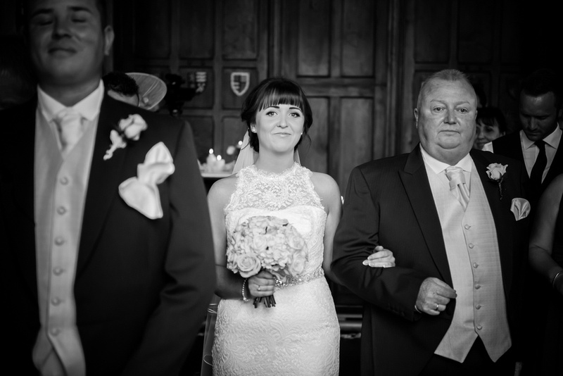 the bride walking up the aisle. Wedding in Chateaux Rhianfa, Anglesey. Wedding Photographer, Celynnen Photography