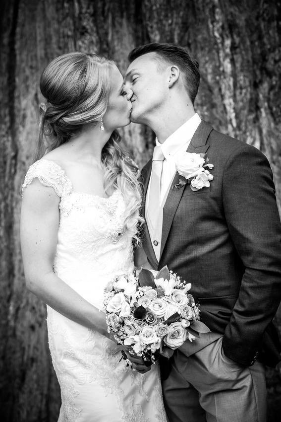 Black and white image of the newly married couple kissing at Bodrhyddan Hall.