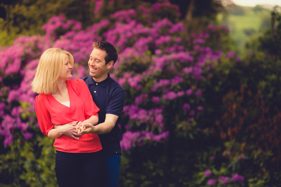Colourful couple photo from a pre-Wedding portrait session by North Wales portrait and wedding photographer Celynnen Photography at the beautiful Crogen Estate (Ioan Said / Celynnen Photography)