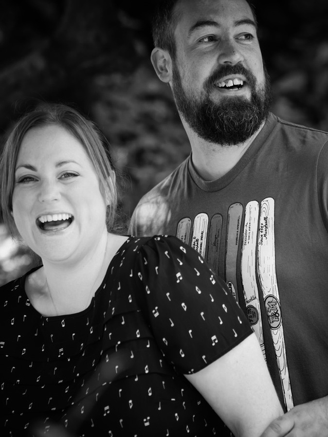 Black & White photograph of Claire & Paul on their pre wedding shoot in Sefton Park, Liverpool.