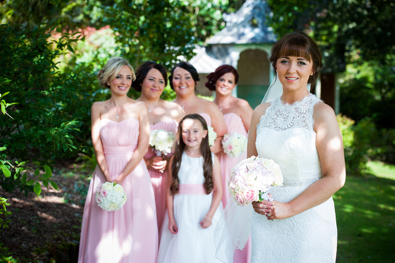 bride and her bridesmaids at a wedding in Chateaux Rhianfa, Anglesey. Wedding Photographer, Celynnen Photography