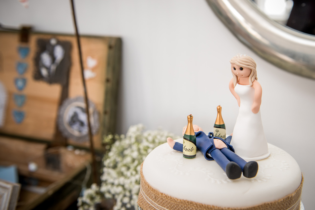 Photo of the cake topper from a wedding in Portmeirion.