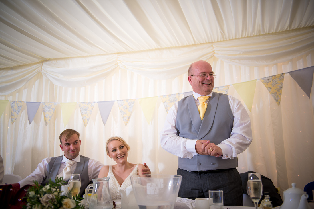 Image of the father of the bride giving his speech at a wedding at Pentre Mawr.