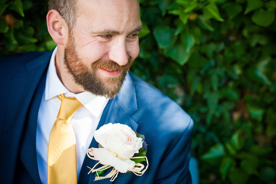 Groom at all ready for his wedding day in Anglesey.