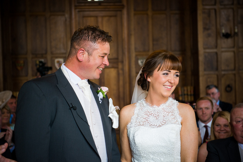 A happy bride and groom at a wedding in Chateaux Rhianfa, Anglesey. Wedding Photographer, Celynnen Photography