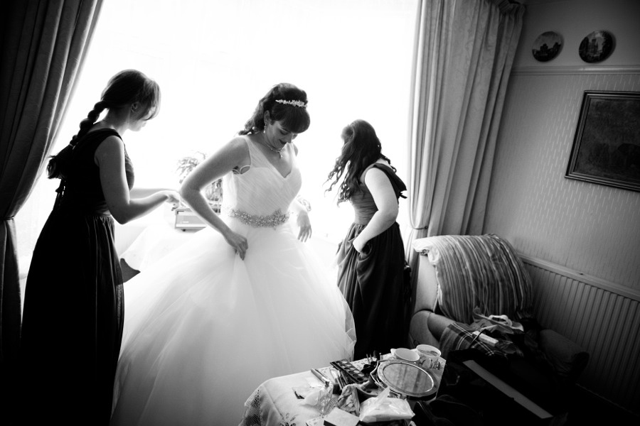 The bride got her wedding dress at Cameo Brides, Llandudno. North Wales Wedding photographer, Celynnen Photography