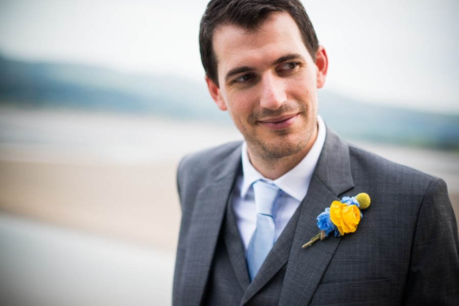 Groom at his Wedding in Portmeirion. Wedding Photographer, Celynnen Photography